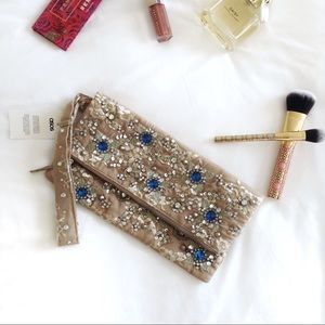 Asos Tan Embellished Jeweled Lace Clutch